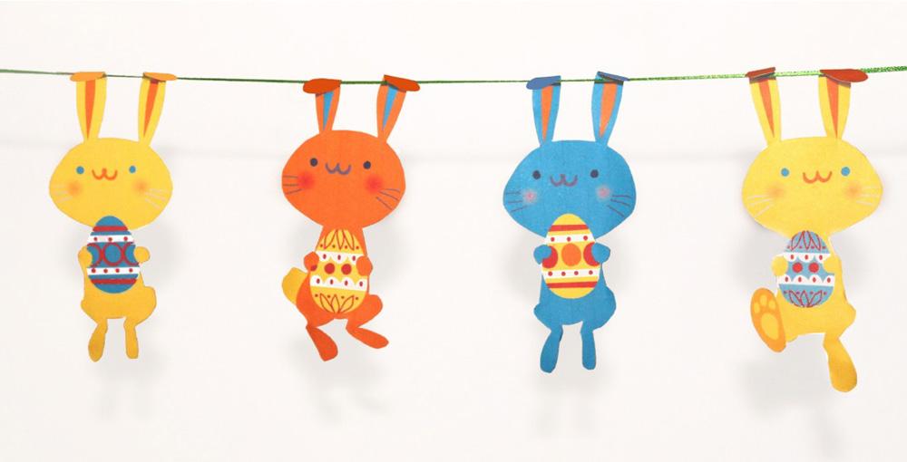 DIY: guirlande de lapins de Pâques à découper