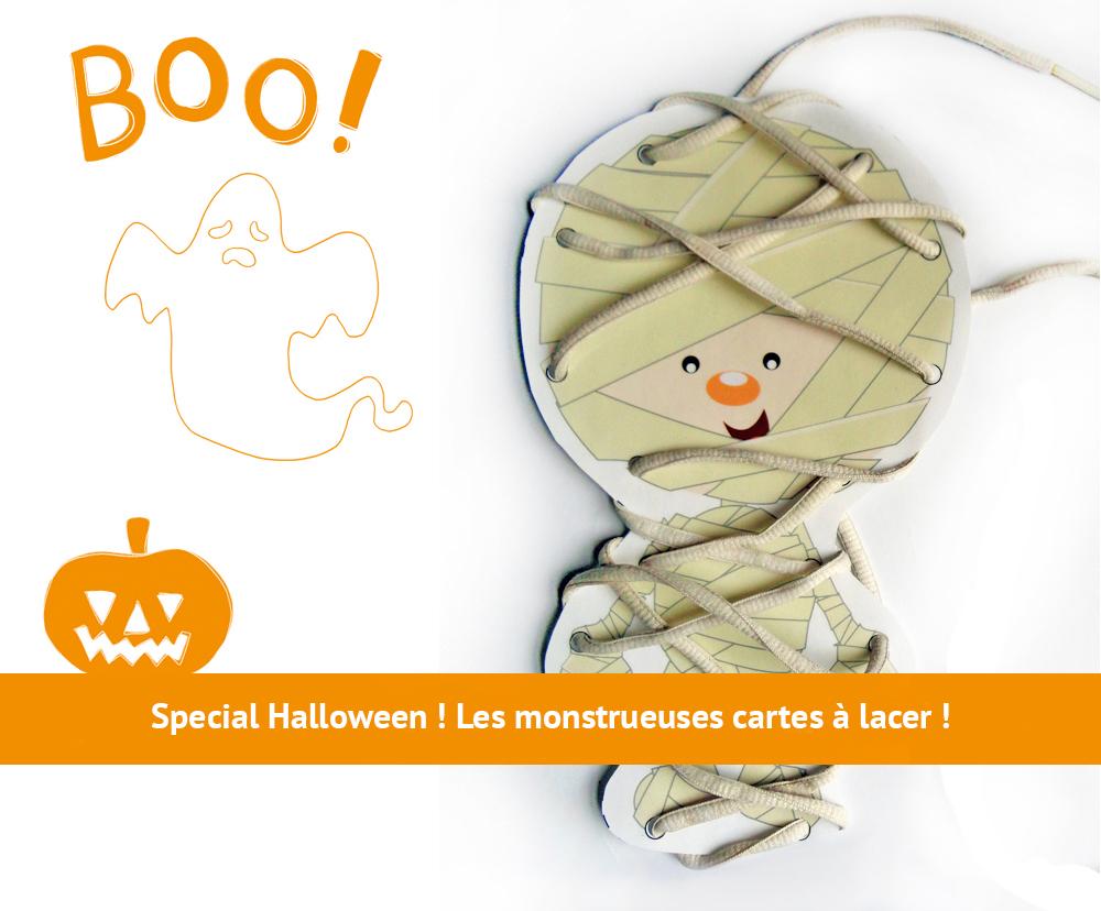 Activité d'Halloween pour enfant : cartes à lacer