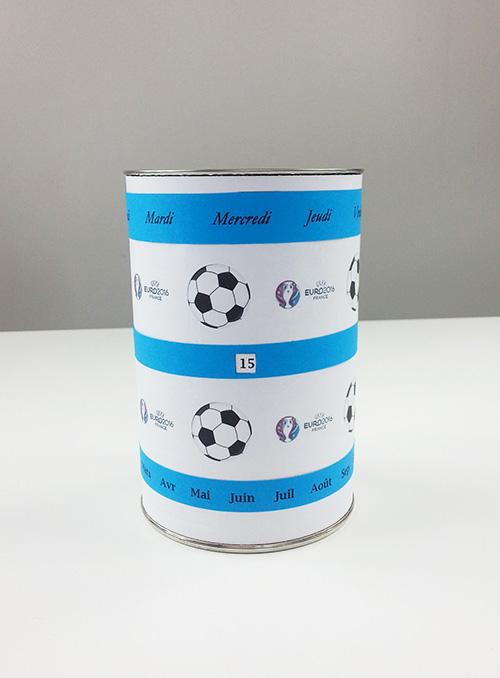 Fabriquer un pot à crayons avec calendrier perpétuel foot euro 2016 pour la fête des pères