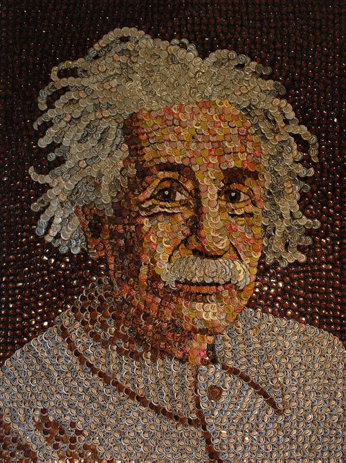 DIY Recyclage: portrait d'Albert Einstein avec des capsules de bouteille