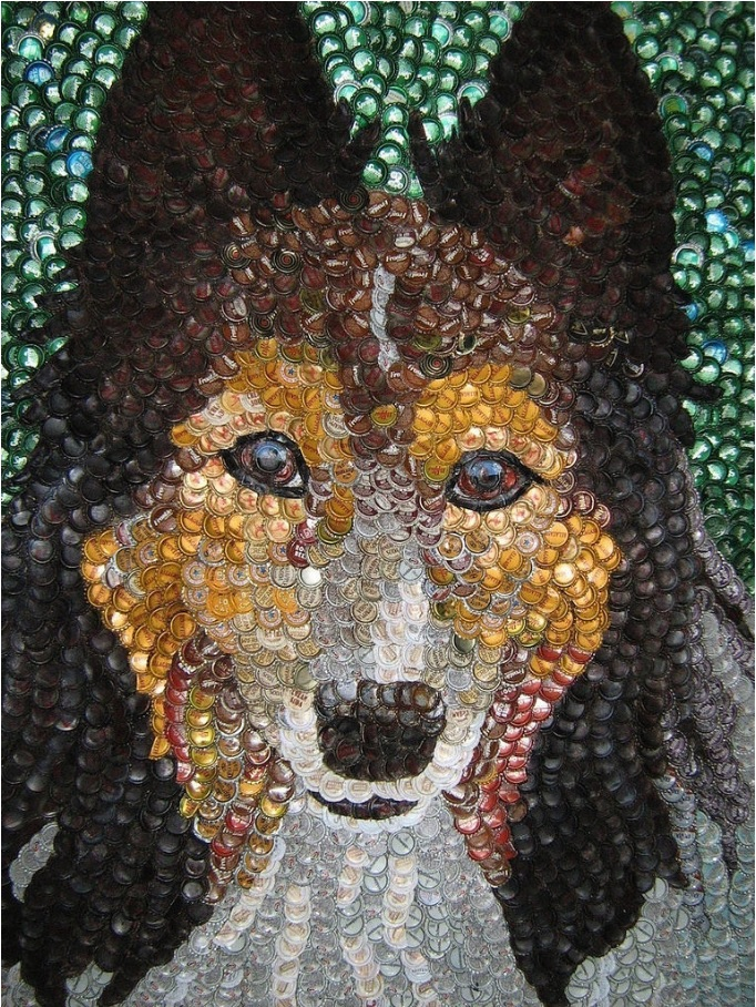 Idée déco avec de la recup: portrait canin avec des capsules de bouteille