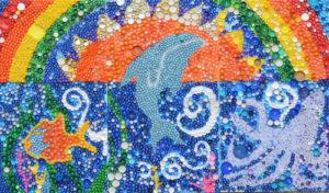 Projet d'école déco récup: fresque sur l'océan